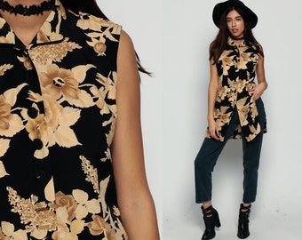 Floral Blouse 80s Sleeveless Button Up Shirt Boho Top Collared 90s Grunge Tank Top Black Tan Tunic Long Vintage Feminine Small