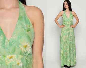 Halter Dress Boho Backless Maxi 70s Hippie Halter Neck Floral Print Deep V Empire Waist 1970s Bohemian Vintage Sundress Sun Green Medium