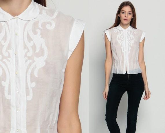 Sheer blouse peter pan collar boho button up cap sleeve top for White cotton shirt peter pan collar