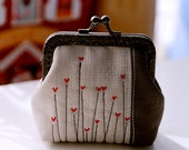 Grey linen and Red hearts little coin Purse