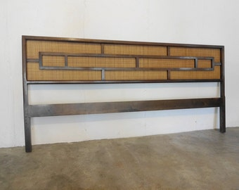 SOLD King Size WALNUT and Cane HEADBOARD