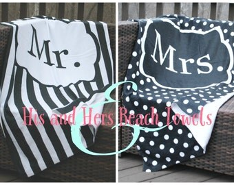 Personalized Beach Towels Mr. and Mrs. Wedding Gift