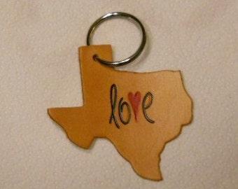 Texas Love Leather Keychain