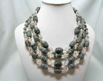 Vintage 4 Strand Silver Grey Lampwork Bead and Crystal Necklace
