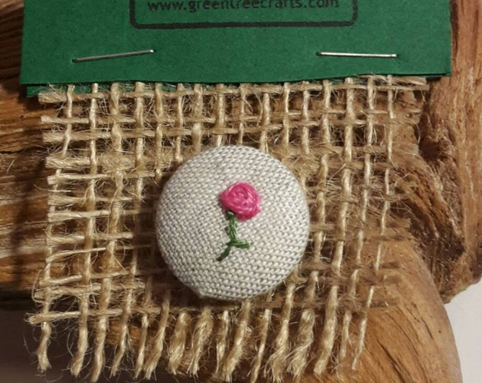 Embroidered button badge - Rose