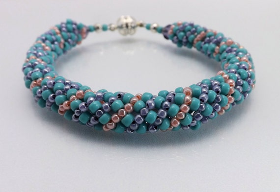 Seed bead bracelet-in Aqua, Lavender, & Peach-7 1/2 inches long-magnetic clasp-stackable bracelet