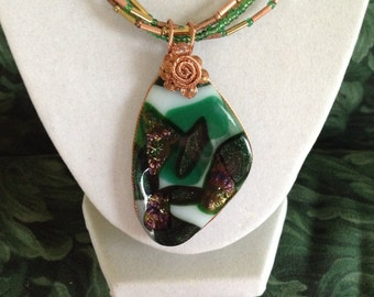 Large fused/kiln-fired glass pendant style necklace wrapped with copper wire