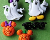 Mickey and Minnie Ghosts - Disney Halloween Pumpkin Boo Mouse Dress It Up Craft Buttons