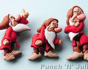 GRUMPY - Snow White and the Seven Dwarfs Dwarves Disney Dress It Up Craft Buttons