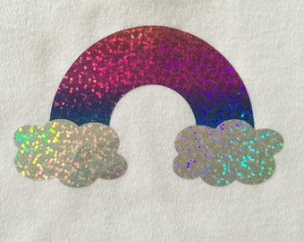 Ombre Rainbow with Clouds DIY Iron On Decal - Holographic Vinyl - HTV