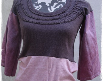 Pink  and Brown Jersey Smock Tunic Top Recycled Upcycled Size Small