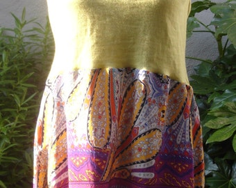 Lime Green Merino Mix Smock Layering Restructured Top Recycled Upcycled Size Medium