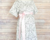 Gray Damask Maternity Hospital Delivery Gown -Super Soft -Perfect Snaps for Breastfeeding, Skin to Skin, and Epidural