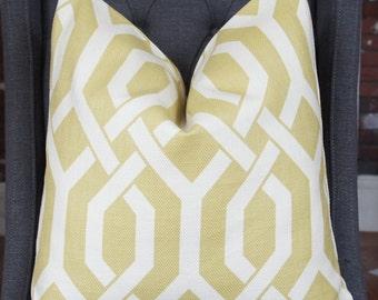 Chartreuse Geometric Pillow Cover, Decorative Pillow, Throw Pillow, Toss Pillow, P Kaufmann, Chartreuse Fretwork, Gatework, Home Furnishing
