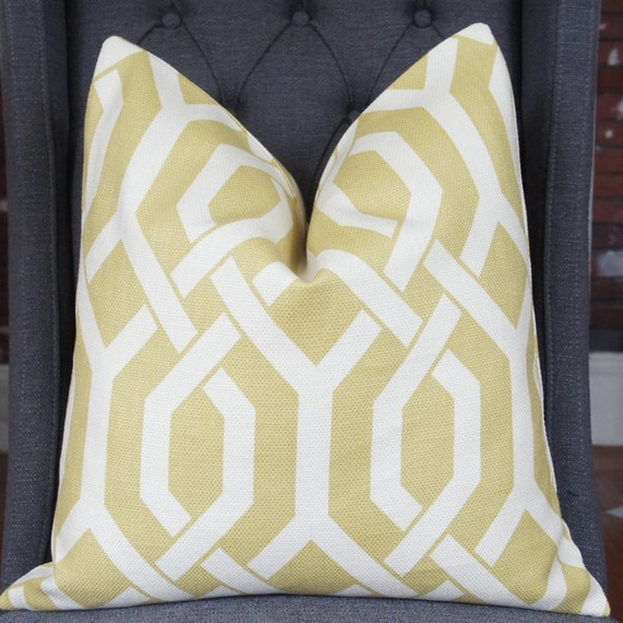 Chartreuse Geometric Pillow Cover, Decorative Pillow, Throw Pillow, Toss Pillow, P Kaufmann, Chartreuse Fretwork, Gatework, Home Furnishing