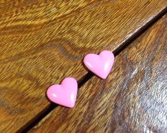 Vintage 1980s pink painted metal heart post earrings DEADSTOCK