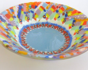 handmade, colorful unique art glass bowl