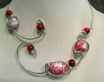 Wire wrapped necklace, Modern jewelry,  Red jewelry, red necklace,  Alu wire jewelry, Metal wire jewelry