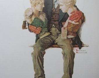 Busts/Cramming, Norman Rockwell Magazine Cover Prints, 2-Sided Vintage Book Page, Unframed Color Plate, 1979