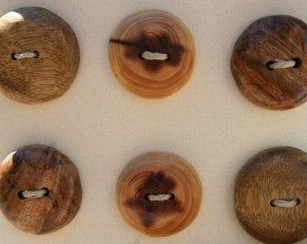 6 Mixed Wood Buttons- in Reclaimed Woods- Eco Knitting Supplies, Sewing Supplies, Craft Buttons- Eco Craft Supplies