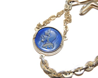 Vtg Pocket Watch Charm and Chain by Swank