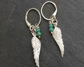 Sterling silver Angel wing earrings with turquoise bead charms