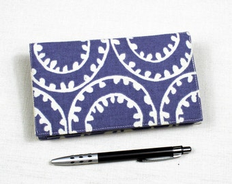 Lavender Circles Checkbook Cover for Duplicate Checks with Pen Holder on Cotton Duck Fabric,