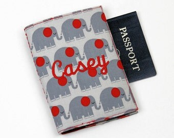 Elephants Personalized Passport Cover with Velcro Closure - Your name or monogram, Kids Passport