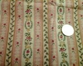 """Stripe and Flowers Dusty Rose Ivory 100% Cotton Fabric Remnant 11"""" X 44"""""""