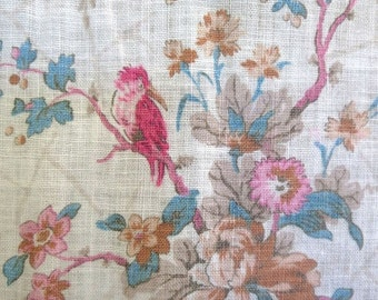1860s Victorian Large Fine Linen Panel Toile de Jouy Kingfisher Birds William Morris Influence