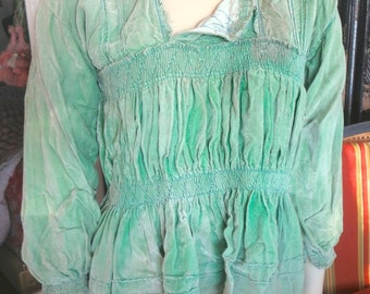 1930s Vintage Altiplano Green Velvet Bolivian Milkmaid Tunic Fine Smocking As Is 35 Bust