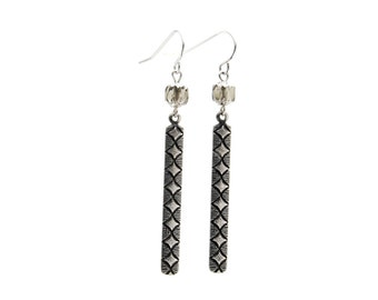 Medieval Inspired Earrings with Diamond Pattern Cut-Out Bars and Vintage Glass Cathedral Beads - Tribal, Gothic Boho, Bohemian