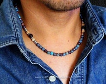 Beaded Necklace for Men, Blue and Brown Stone Jasper Necklace, Handmade Men's Jewelry, Gift for Men, Guys, Dad, Him