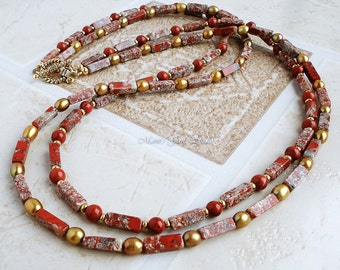 Double Strand Long Necklace 28in, Red Jasper, Golden Pearl, Brass, Gemstone, Snowflake