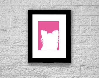 Modern Papillon Silhouette Art Print, Printable Art, Instant Download, Dog Art Print