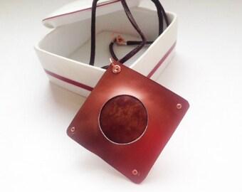 Brown Jasper and Anodized Aluminum Pendant