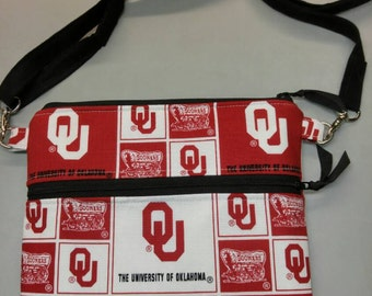 OU Sooners purse, messenger/cross body bag handmade, University of Oklahoma