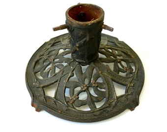 1920s Cast Iron Christmas Tree Stand for Small Tree / Art Nouveau Open Metalwork Flowers and Branches / Antique Christmas