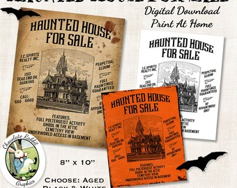 Halloween Haunted House Poster Sign Digital Download Vintage Style Printable Image Clip Art Scrapbook Clip Art Decorations Graphics Sheet