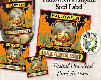 Halloween Magic Pumpkin Seed Labels Vintage Style Digital Download Printable Party Treat Labels Party Favor Tags Clip Art Scrapbook Image