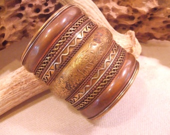 Tribal Bracelet Brass and Copper   -- old jewelry  -- heavy patina( FREE SHIPPING SALE)