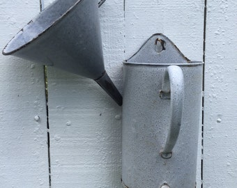FRENCH GRANITEWARE IRRIGATOR and Funnel 2 Liter Irrigator Planter Organizer Kitchen French Country at A Vintage Revolution