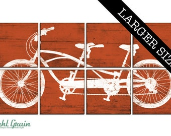 EXTRA Large Tandem Bicycle Artwork - Tandem Bike Print - Office Decor - Newly Weds 32x64