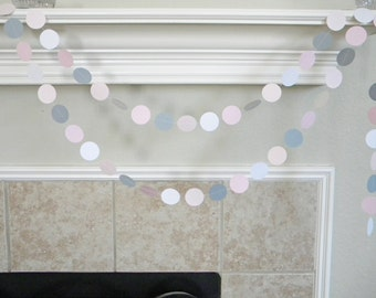 Pinks, White, Gray Paper Garland, Baby Girl Shower Decorations, Pink Gray 1st Birthday Decor, Pink Gray Baptism, Wedding Decorations