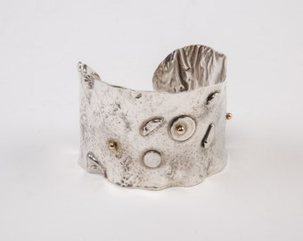 Oxidized Sterling Silver Textured, Reticulated Cuff with 14k Gold