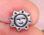 15 Sun Beads Small Silver Pewter Spacer Charm Smiling Sunshine Accent for Friendship Bracelets & Necklaces Lucky Charm Bulk Jewelry Supplies