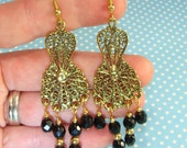 Long Bohemian GOLD Gypsy Earrings Chandelier Dangles Drops Black Fire Polish Beads - Gold Plated Pewter Base - Finished Jewelry C