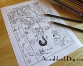 Treehouse Hidden Picture Adult or Kids Coloring Activity Page Printable Digital Download