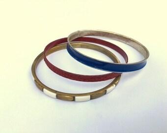 Vintage 60s RED WHITE BLUE Metal Bangle Set