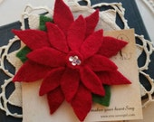 Red Felted Poinsettia lapel pin with rhinestones Christmas accessory coat pin large felt flower unique scarf pin brooch